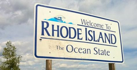 "Pachaug Trail - ""Welcome to Rhode Island sign"" at Beach Pond, Hope Valley, RI"
